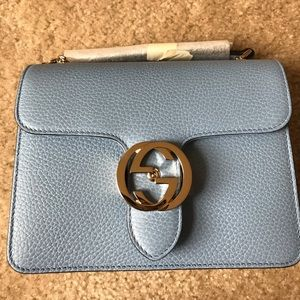 Gucci Blue Crossbody Leather Bag
